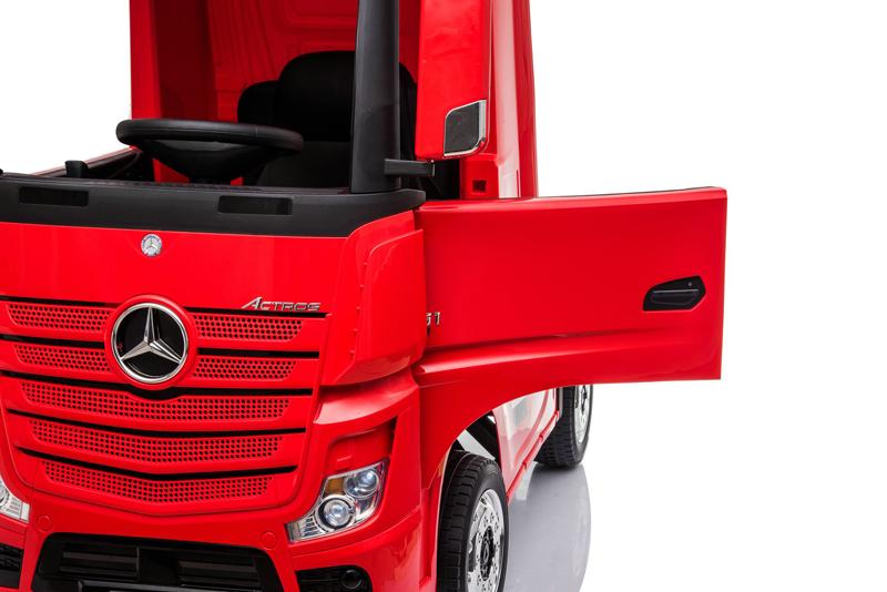 Camion electric 4X4 cu platforma ,scaun din piele si roti EVA Mercedes Actros Trailer Red - 6