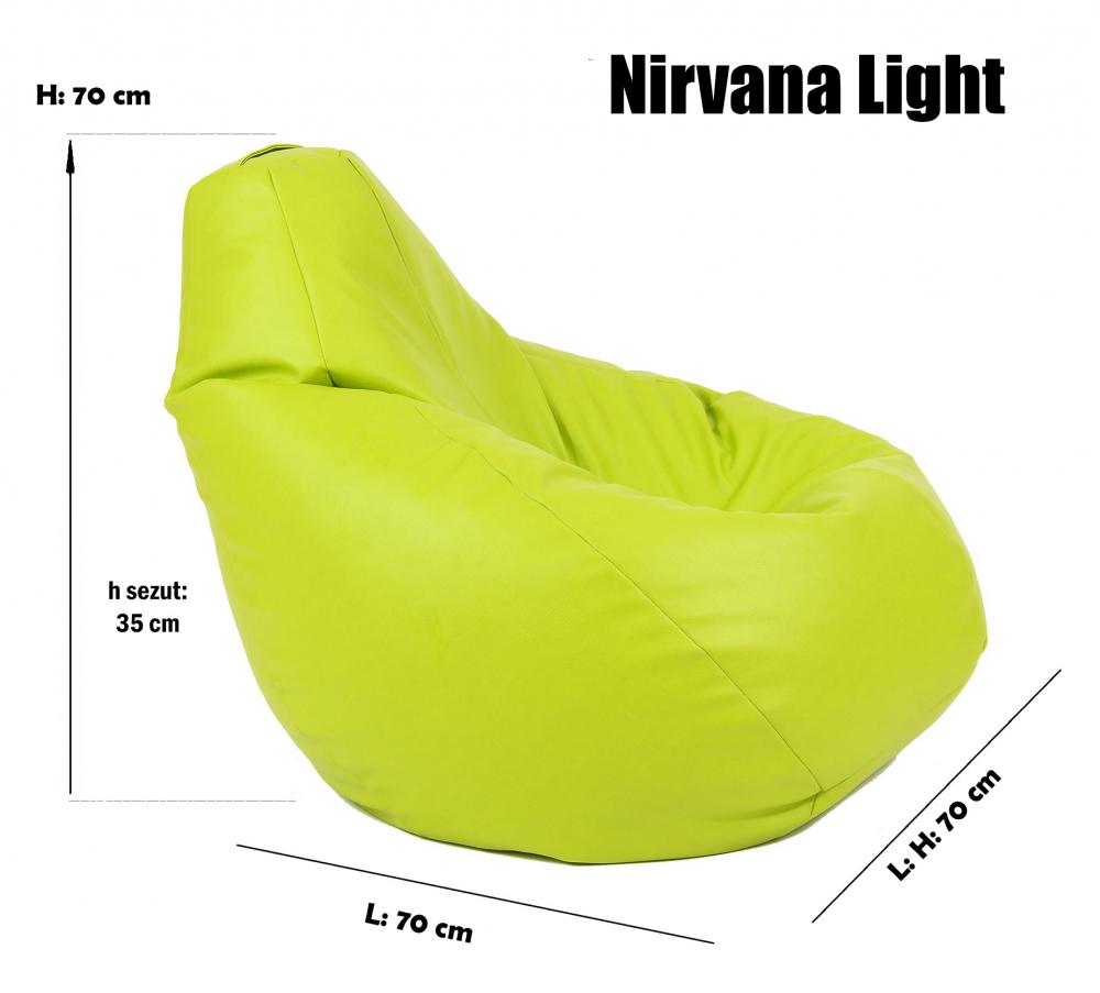 Fotoliu Mic Copii 4-14 Ani Nirvana Light Chocolate Piele Eco Umplut Cu Perle Polistiren