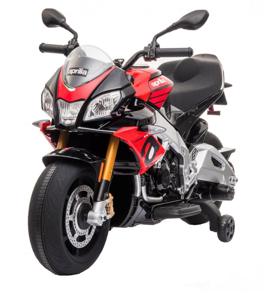 Motocicleta electrica 12V cu roti EVA Aprilia Tuono Red - 7