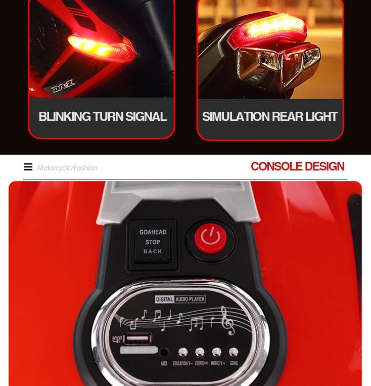 Motocicleta electrica cu doua motoare Nichiduta Moto Speed Red - 5