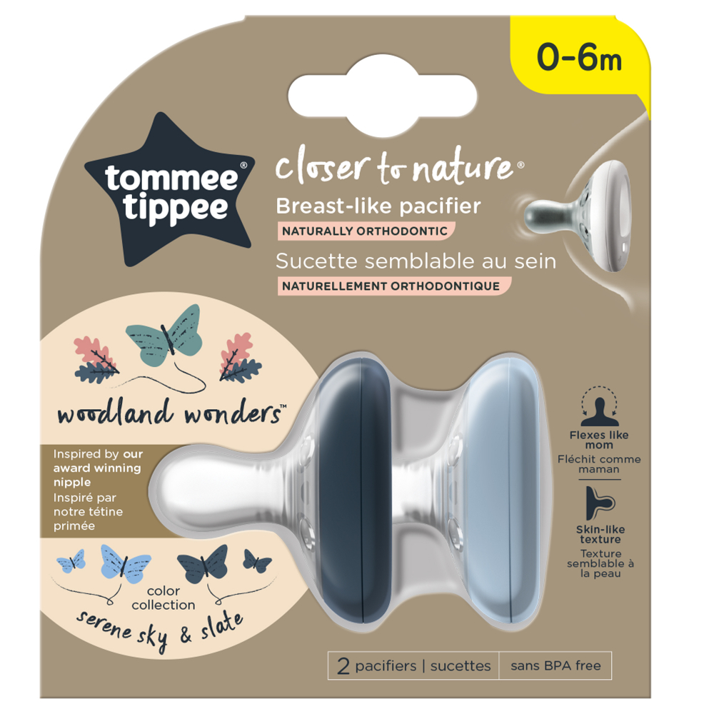 Suzete Tommee Tippee Closer to Nature 0-6 luni Breast like pacifier gri inchis-gri deschis 2 buc