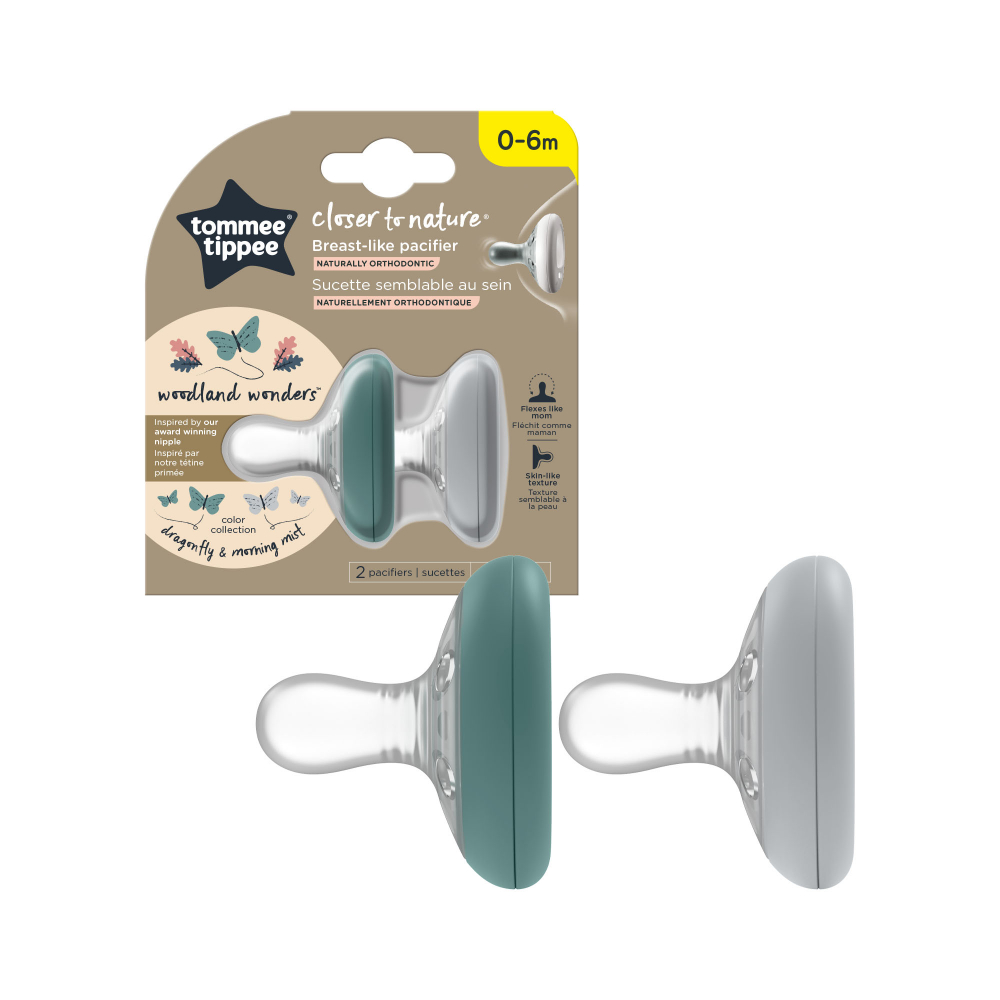 Suzete Tommee Tippee Closer to Nature 0-6 luni Breast like pacifier verdegri 2 buc