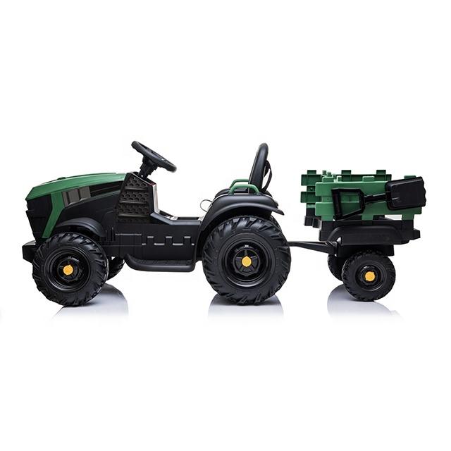 Tractor electric 12V cu telecomanda,scaun din piele si remorca Nichiduta Power Green - 1