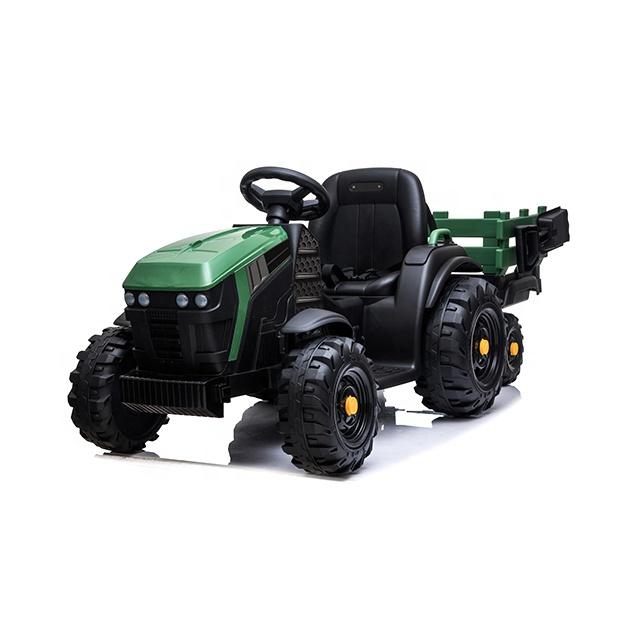 Tractor electric 12V cu telecomanda,scaun din piele si remorca Nichiduta Power Green - 2