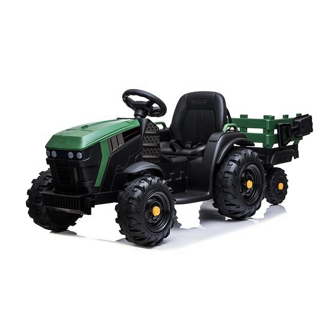 Tractor electric 12V cu telecomanda,scaun din piele si remorca Nichiduta Power Green - 3