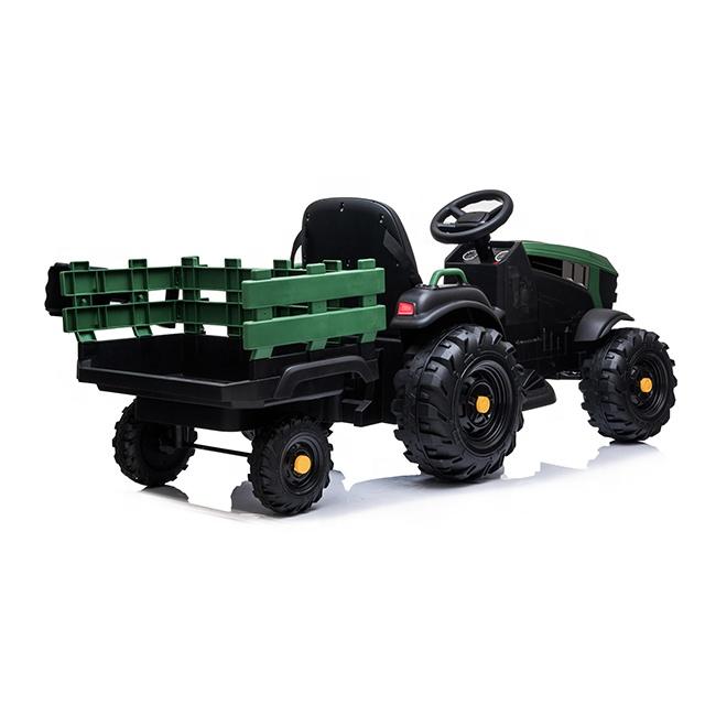 Tractor electric 12V cu telecomanda,scaun din piele si remorca Nichiduta Power Green - 5