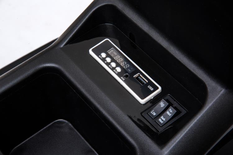 Tractor electric 12V cu telecomanda,scaun din piele si remorca Nichiduta Power Black - 2