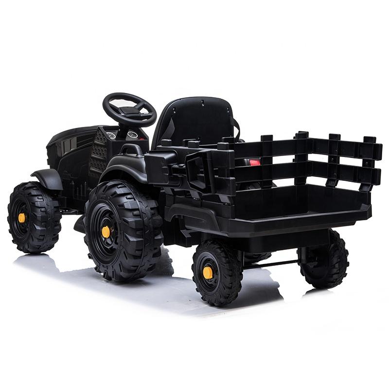 Tractor electric 12V cu telecomanda,scaun din piele si remorca Nichiduta Power Black - 3