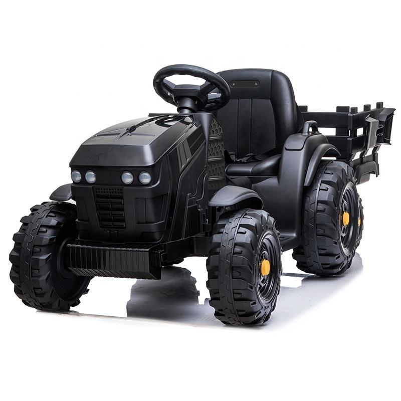 Tractor electric 12V cu telecomanda,scaun din piele si remorca Nichiduta Power Black - 4