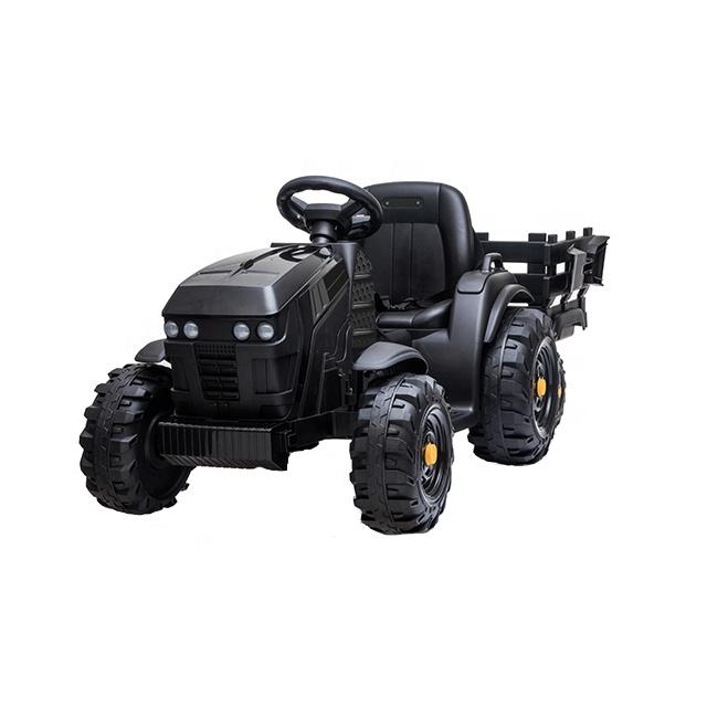 Tractor electric 12V cu telecomanda,scaun din piele si remorca Nichiduta Power Black - 5