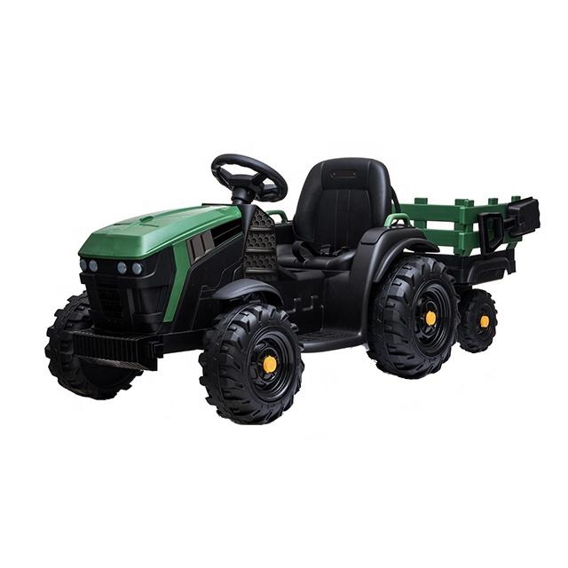 Tractor electric 12V cu telecomanda,scaun din piele si remorca Nichiduta Power Green - 6