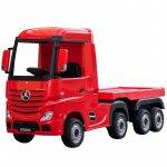 Camion electric 4X4 cu platforma ,scaun din piele si roti EVA Mercedes Actros Trailer Red