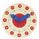Ceas din lemn diametru 18 cm set invatare citire ceas