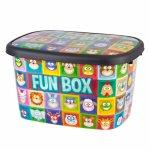 Cutie depozitare pentru copii 50 litri Fun Box multicolor cu animalute