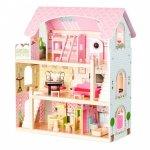 Jucarie casuta de papusi pentru fetite din lemn 3 etaje cu 4 papusi si 15 piese mobilier Ecotoys 4110