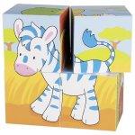 Puzzle cu cuburi din lemn animale nostime