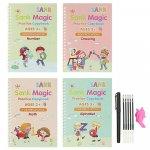 Set cu 4 caiete de lucru si stilou magic pentru scris si desenat Sank Magic rechizite scolare