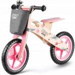Bicicleta din lemn fara pedale Ricokids rc 611 roz