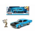 Set masinuta metalica 1970 Plymouth scara 1:24 si figurina Wile e Coyote Looney Tunes Road Runner