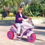 Motocicleta electrica Peg Perego Flower Princess 6V 2 ani + roz/mov