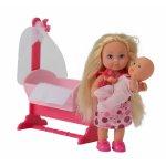 Papusica Evi Love cu bebelus cu rochita roz deschis