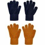 Set 2 manusi tricotate cu lana merinos CeLaVi Pumpkin Spice/Black 3-6 ani